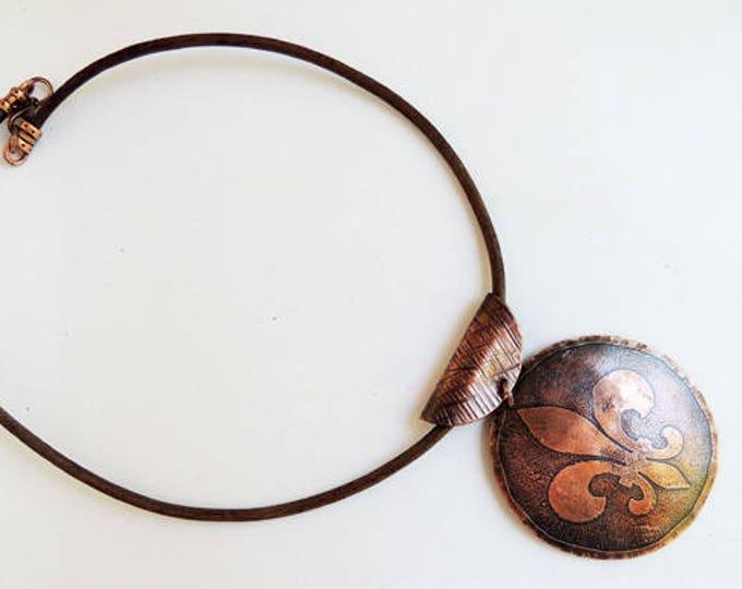 Acid Etched Copper Fleur De Lis Pendant with Leather Necklace Handmade