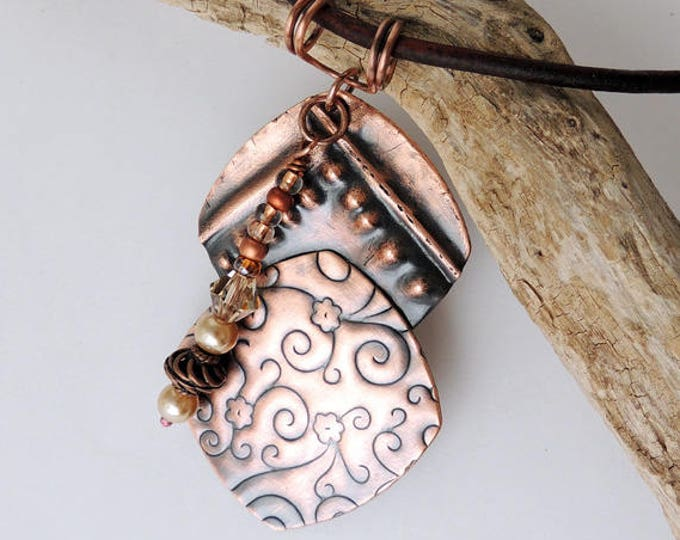 Copper Metalwork Form Folded Textured Pendant & Leather Necklace