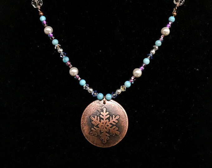 Etched Snowflake Pendant Handmade Chain Glass Beads Copper
