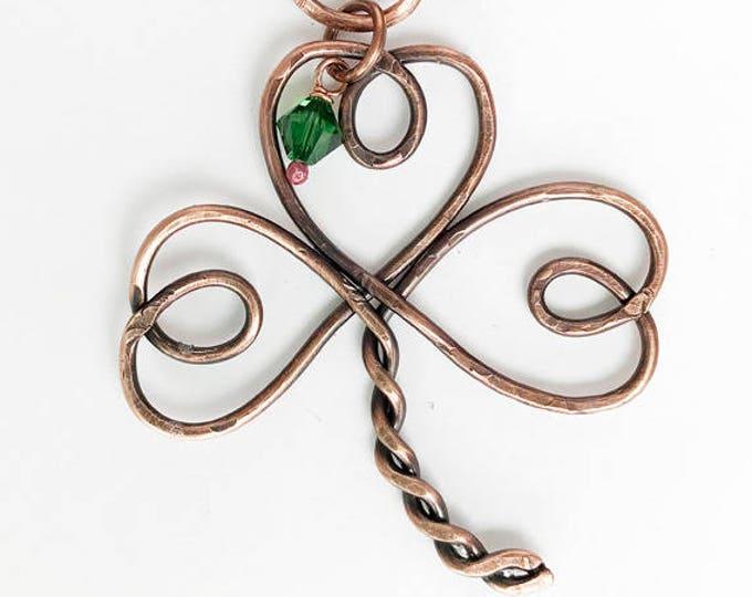 Copper Twisted Shamrock Pendant & Leather Necklace