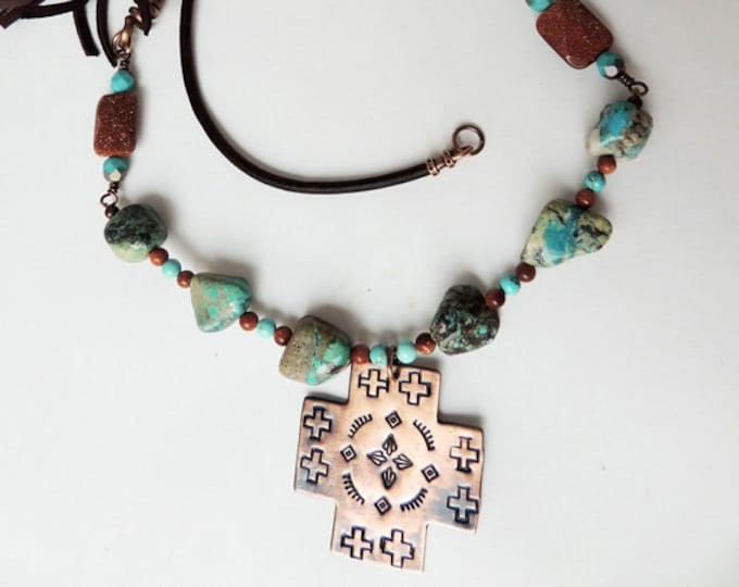 Copper Southwest Cross with Gold Stone, Turquoise and Leather Handmade, Cowgirl Necklace