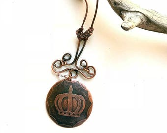 Handmade Copper Acid  Etched Crown Pendant with Beaded Leather Cord