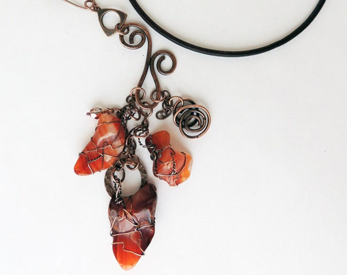 Polished Wired Red Agate Tumbled Stones with Handmade Chain and Leather