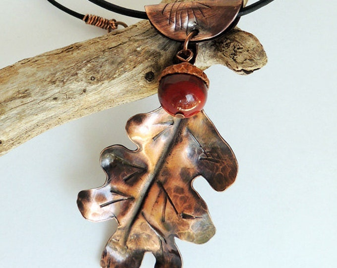 Hand Cut Oak Leaf Pendant with Brecciated Jasper Acorn and Leather Cord