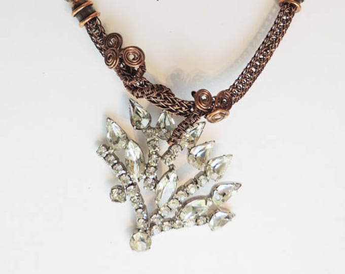 Vintage Rhinestone Brooch Pendant with Copper Viking Knit and Chain Handmade