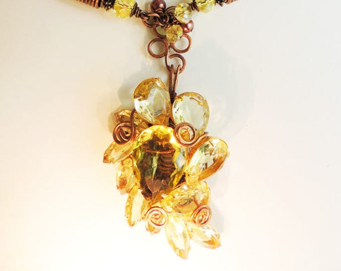 Yellow Vintage Brooch with Copper Viking Knit and Handmade Chain Necklace