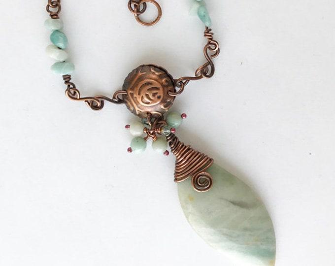 Copper Wired Amazonite Pendant Necklace