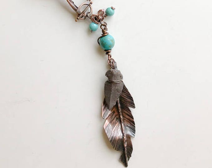 """Copper Fold Formed Feathers with Turquoise """"dyed"""" Magnesite beads, Handmade Copper Chain & Leather Necklace"""