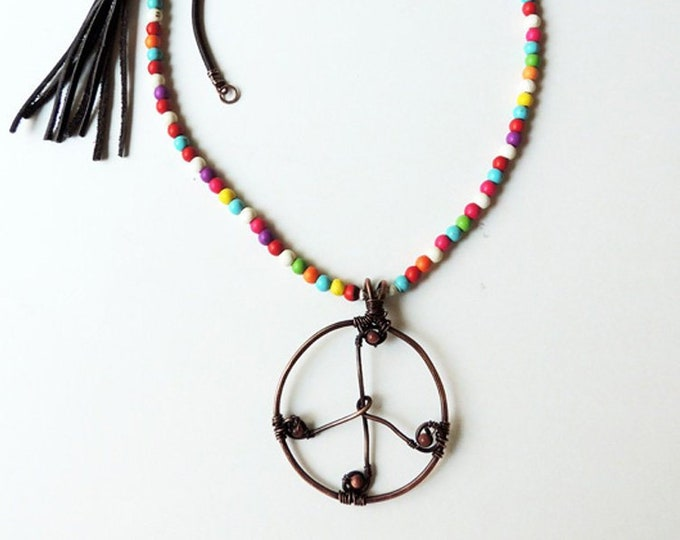 Bohemian Necklace, Beaded Copper Peace Sign Necklace,  Wired Peace Sign, Hippie Peace Sign Necklace, Rustic Peace Sign Pendant