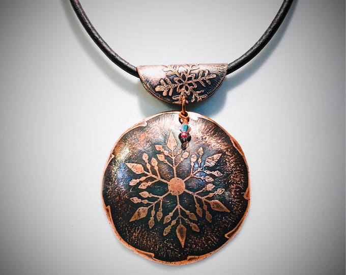 Acid Etched Copper Snowflake Pendant with Leather Necklace