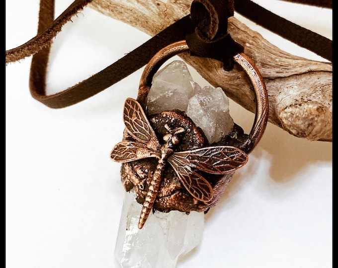 Quartz CrystaL, Dragonfly And Leather * Arkansas Quartz * Electroforming