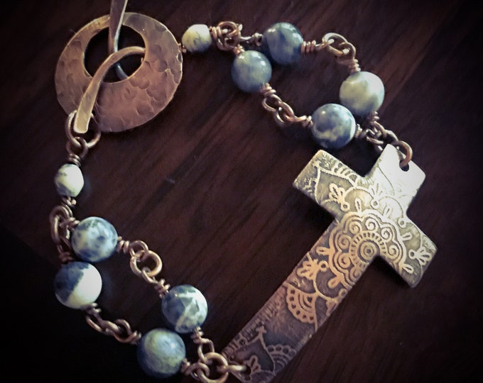 Etched Copper Cross Beaded Bracelet Handcrafted
