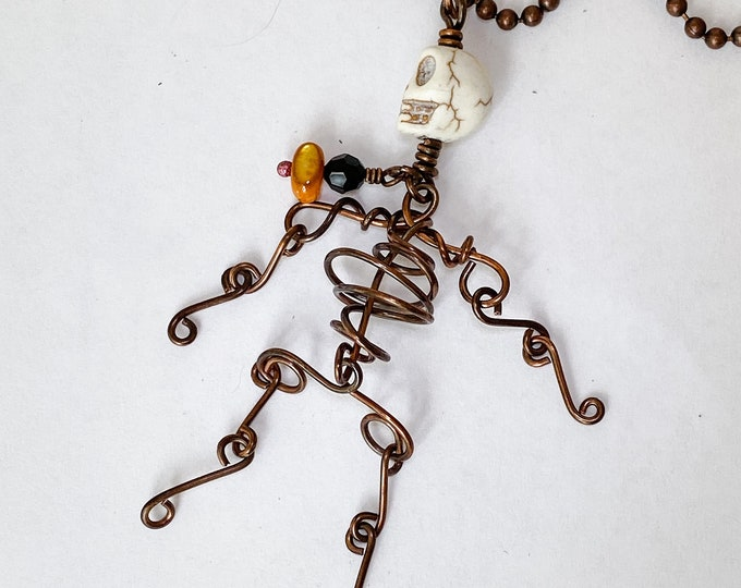 Copper Wire Skeleton Necklace