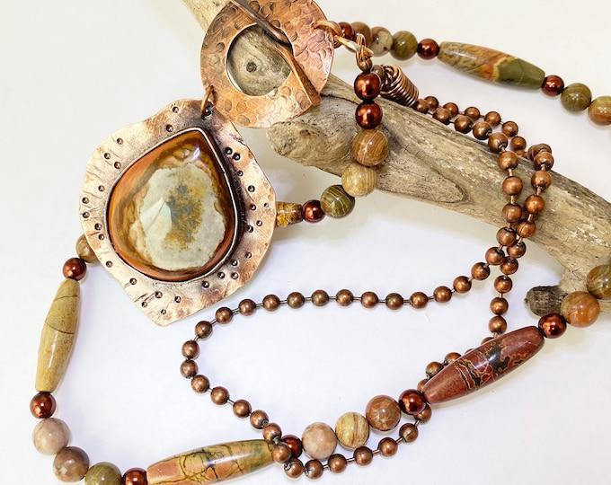 Rustic Jasper and Agate Copper Convertible Necklace