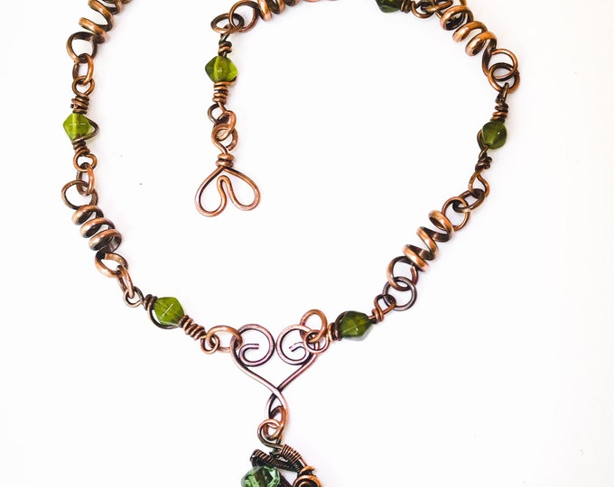 Green Glass Necklace, Green Glass Pendant,  Beaded Handmade Copper Necklace and Heart Clasp