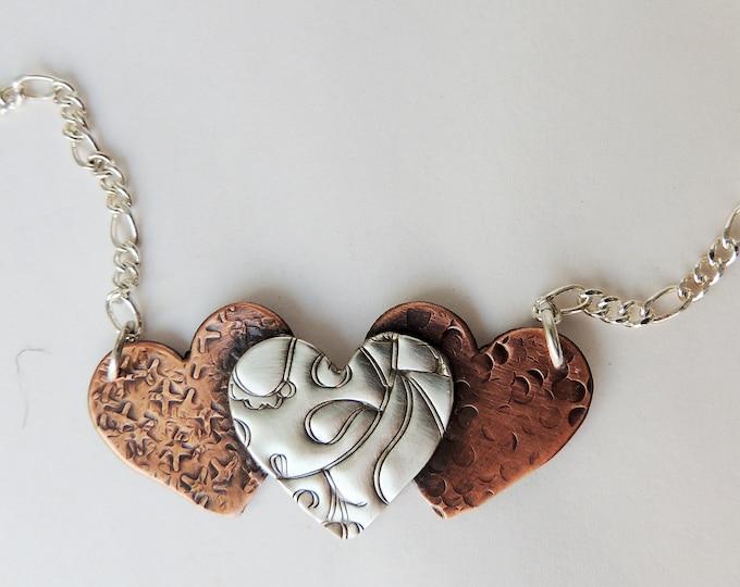 Triple Heart Pendant Necklace