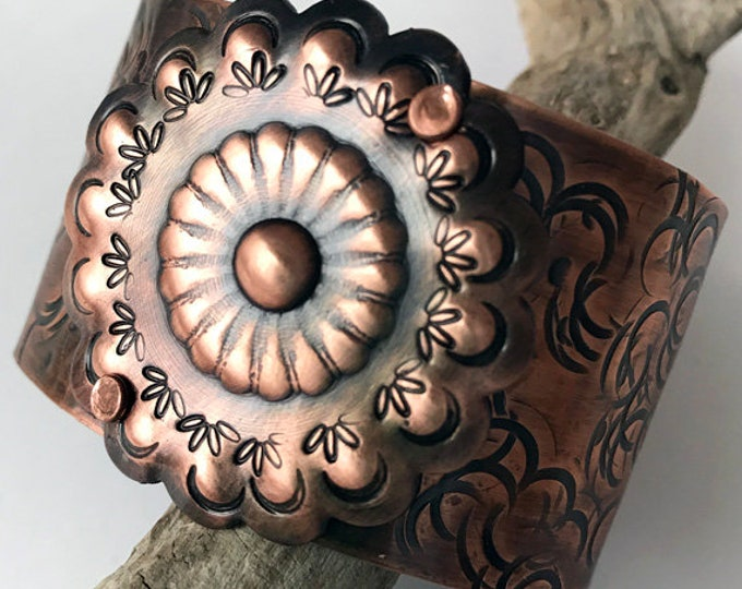 Handcrafted Copper Concho Cuff Bracelet