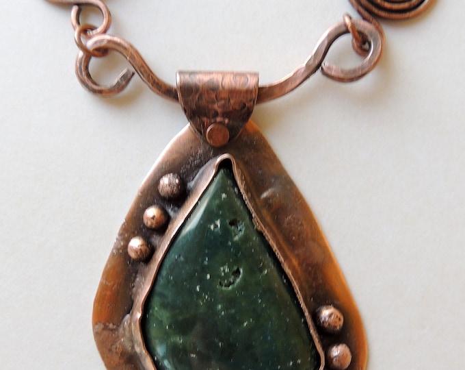 Green Riverstone Jasper Copper Pendant Beaded Necklace Handmade