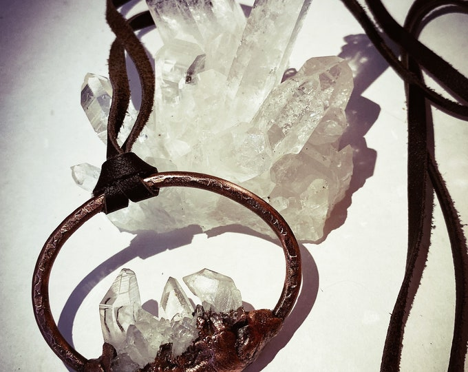 Quartz Crystal Pendant Necklace * Arkansas Quartz  * Copper Electroforming