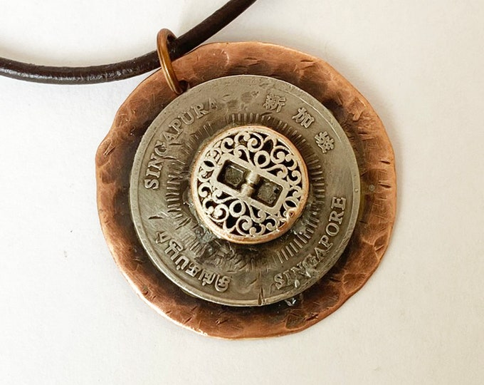 Copper Coin and Button Pendant Necklace