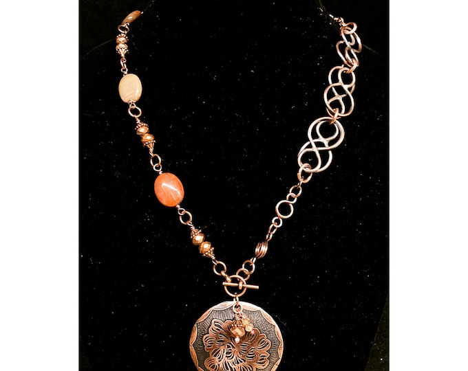 Handmade Copper Chain Polished Jasper Etched Pendant Necklace
