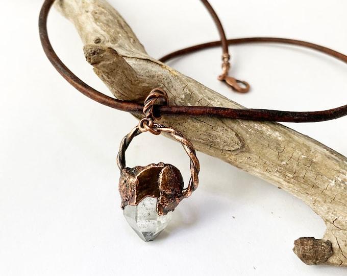 Arkansas Quartz Crystal Pendant and Leather Necklace