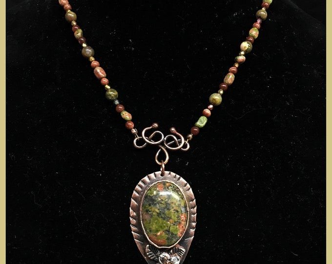 Unakite Copper Bezel Pendant  Beaded Necklace with Leather
