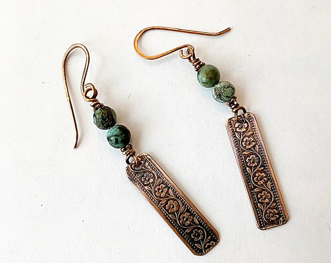 African Turquoise and Copper Earrings