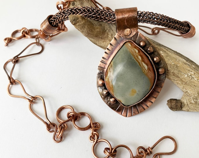 Rustic Jasper Copper Bezel Pendant Handmade Chain and Viking Knit