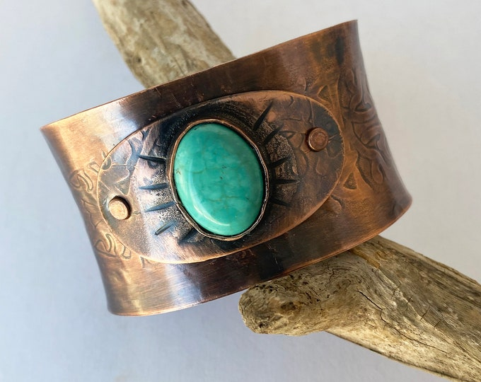 """Copper Cuff Bracelet with Turquoise """"dyed"""" Magnesite"""