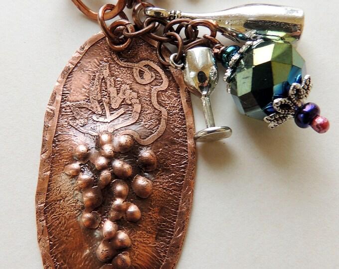 Wine Lover Grape Pendant Necklace Handmade