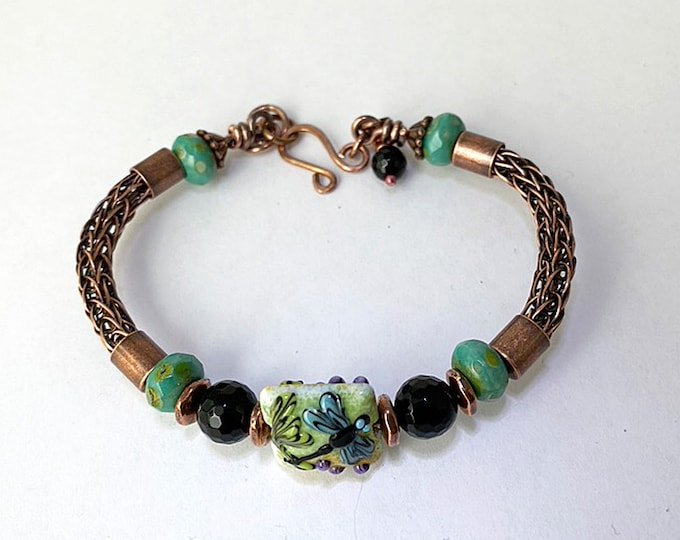 Dragonfly Copper Viking Knit Bracelet Handmade