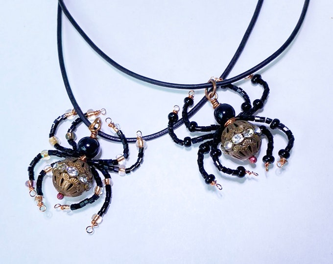 Beaded Spider Pendant Necklace