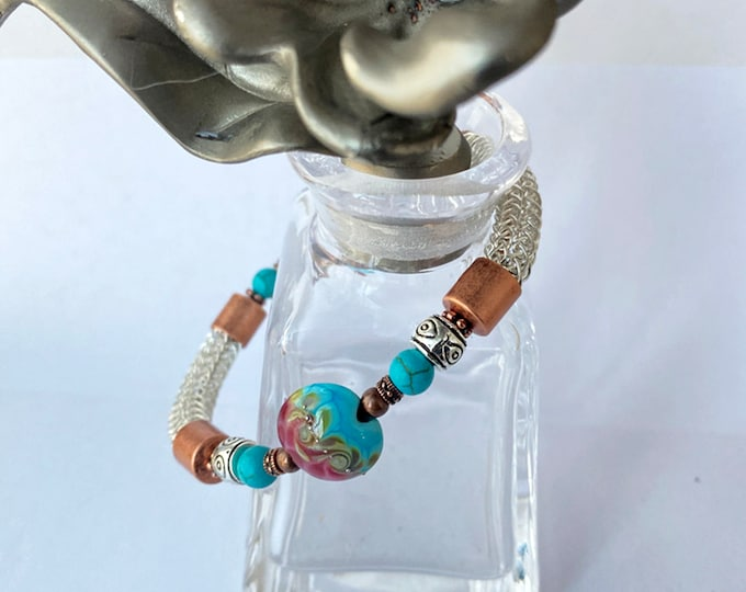 "Sterling Silver Viking Knit Bracelet with Copper and Turquoise ""Ocean Wave"" Lampwork Bead"