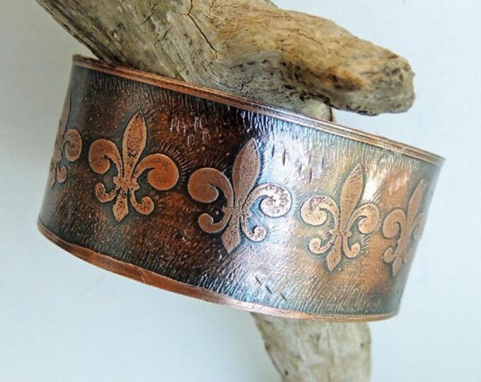 Fleur de Lis Etched Copper Cuff Bracelet Handmade