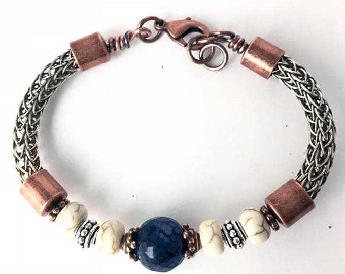 Copper/Sterling Mix Viking Knit Bracelet with Lapis & Magnesite