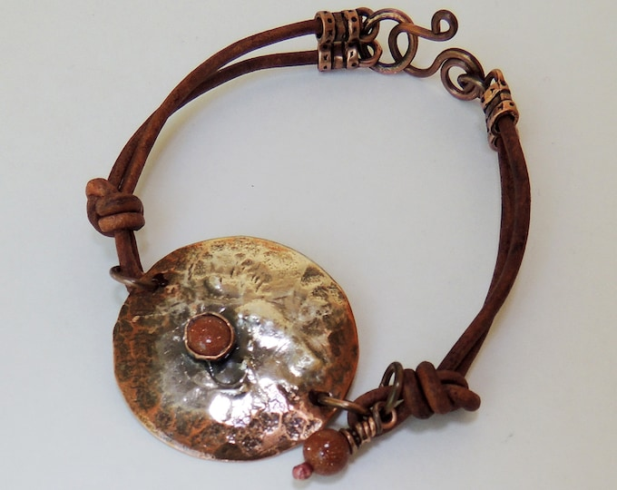 Reticulated Silver & Copper Bracelet With Leather and Sand Stone Accent