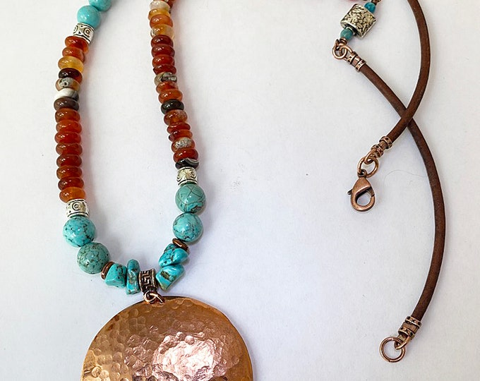 Copper Hammered Pendant Beaded Carnelian and Howlite Necklace