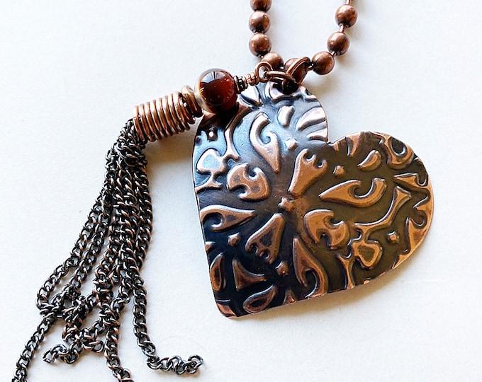 Heart Pendant Copper Texture Handmade