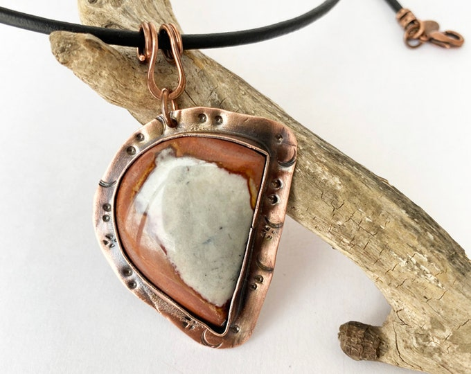 Natural Stone Pendant with Copper Bezel and Leather
