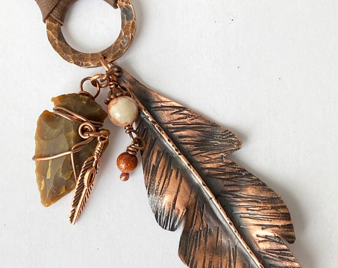 Copper Hand Cut Fold Form Feather Pendant with Jasper Arrowhead