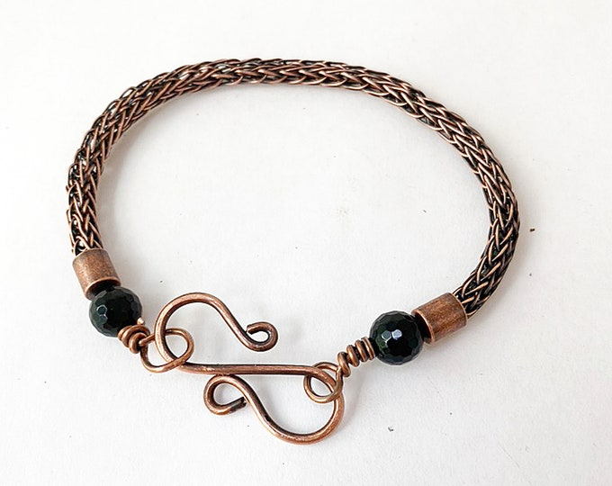 Copper Viking Knit Bracelet with Onyx