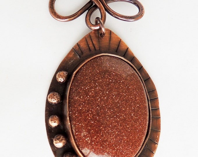 Goldstone Pendant Set in Copper Beaded Lapis and Goldstone Necklace Handmade Chain