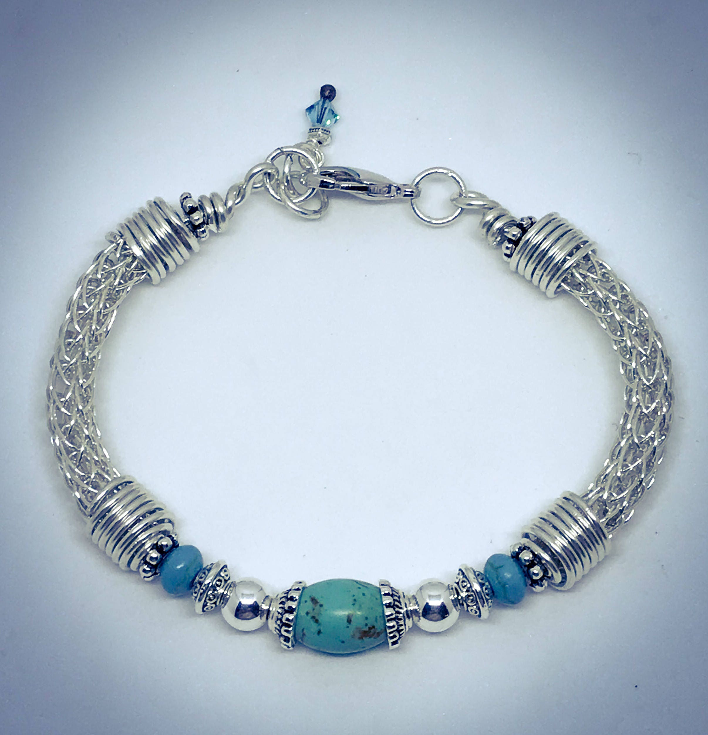 Sterling Silver Viking Knit Bracelet with Turquoise Dyed Magnesite Beads
