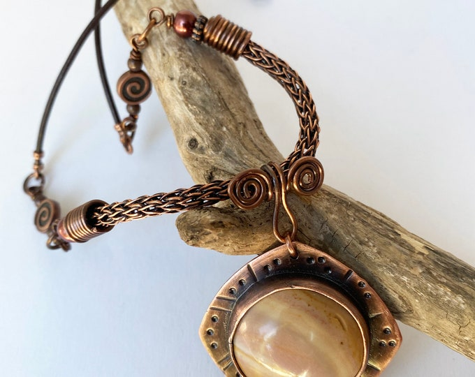 Copper Bezel Jasper Pendant with Viking Knit and Leather Necklace