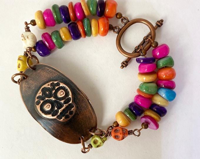 Sugar Skull Copper Medallion Beaded Bracelet