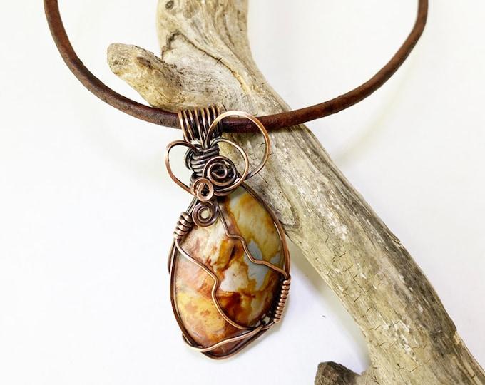 Copper Wire Wrapped Jasper Pendant