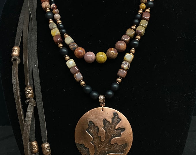 Copper Oak Leaf Etched Embossed Pendant with Mookaite, Onyx and Leather