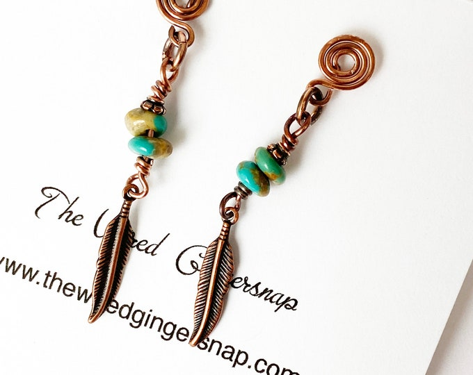 Copper Feather and Turquoise Earrings