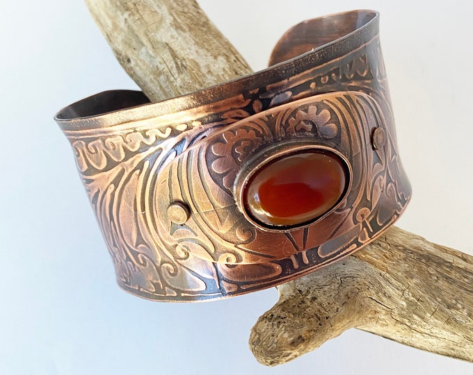 Textured Copper Cuff with Carnelian Stone